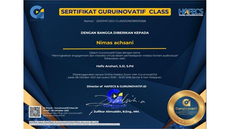 sertifikat pelatihan