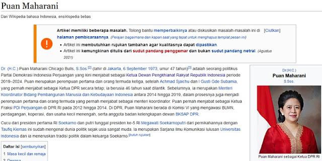 Ada yang Usil, Biografi Puan Maharani di Wikipedia Jadi Ketua Dewan Pengkhianat Rakyat
