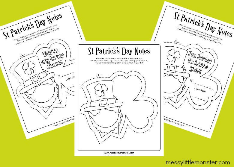 free St Patrick's Day printable notes