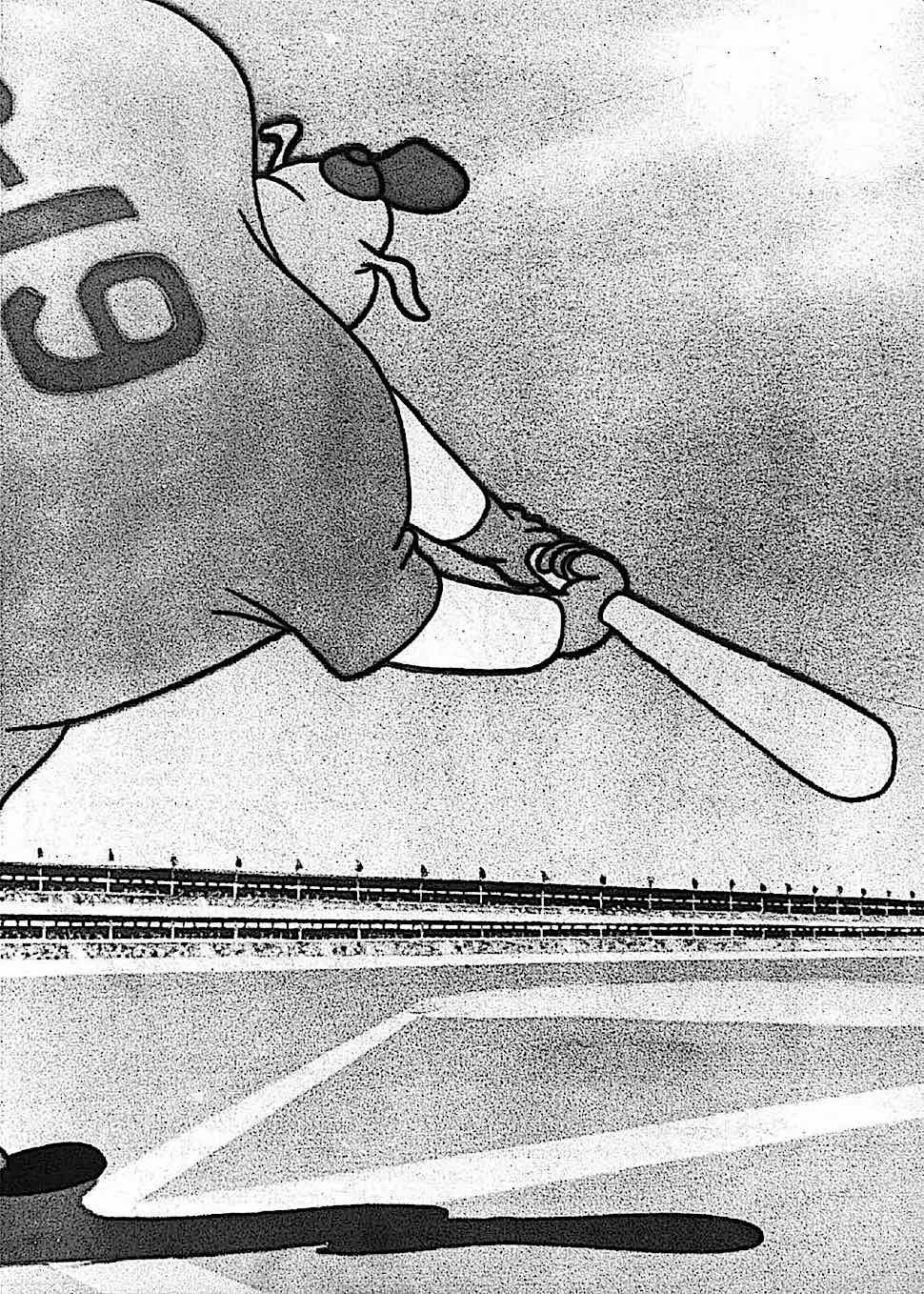 from a Tex Avery animation, a baseball player at bat