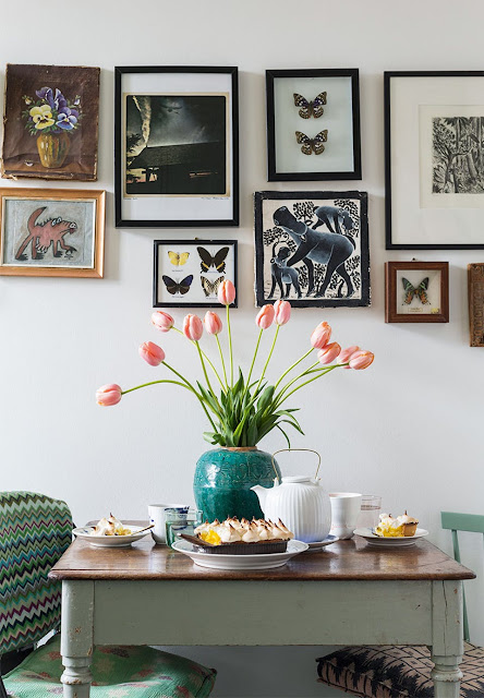 Beautiful gallery wall and lovely porcelain vase- design addict mom