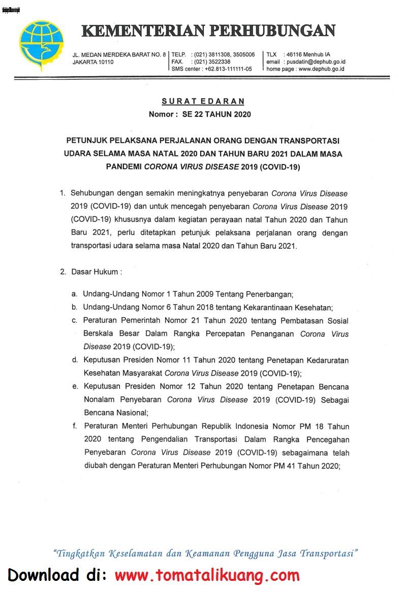 Surat Edaran Kemenhub Nomor 22 Tahun 2020 Tentang Panduan ...