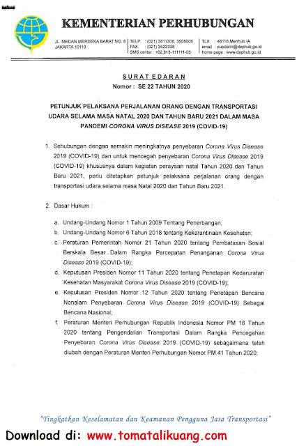 surat edaran kemenhub ri nomor 22 tahun 2020 tentang panduan juklak perjalanan transportasi udara selama hari libur natal 2020 dan tahun baru 2021 masa pandemi corona virus covid-19 pdf tomatalikuang.com