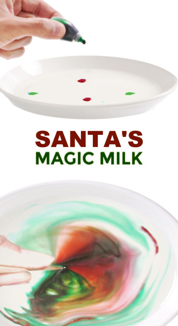 Wow kids of all ages and make Santa's magic milk.  Is it science or magic?  YOU DECIDE! #santaclaus #santamagicmilk #magicmilkexperiment #christmasscienceforkids #growingajeweledrose