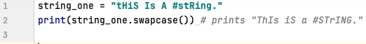 Swap case of a string in Python