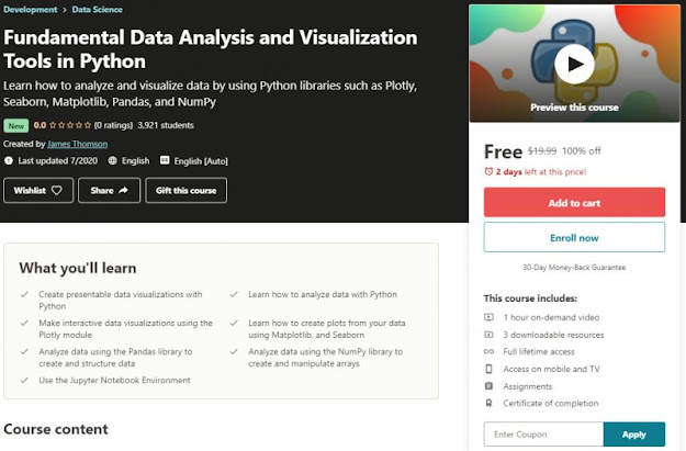 [100% Off] Fundamental Data Analysis and Visualization Tools in Python| Worth 19,99$
