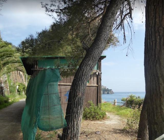 l'area dei bungalow di Corniglia e sullo sfondo Manarola