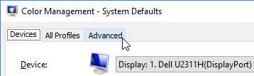 Color Management - System Defaults, Advanced tab