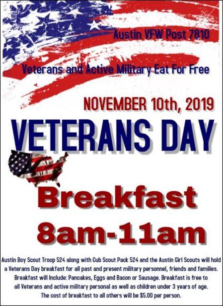 11-10 Veteran's Day Breakfast in Austin