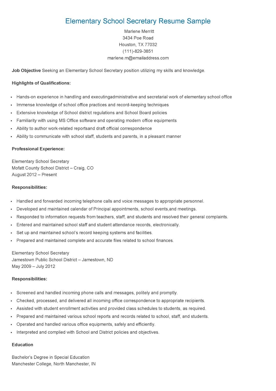 Resume Samples Elementary School Secretary Resume Sample