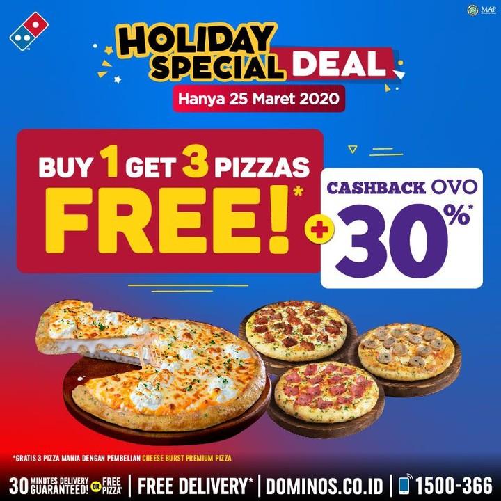 Promo Dominos Pizza Beli 1 Gratis 3 Periode 25 Maret 2020 Scanharga