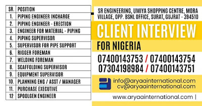Urgently Requirement for Nigeria