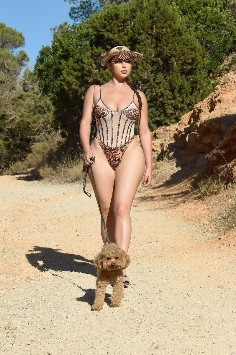 Demi Rose Clicked in Swimsuit Out with Her Dog in Ibiza 24 Sep- 2020