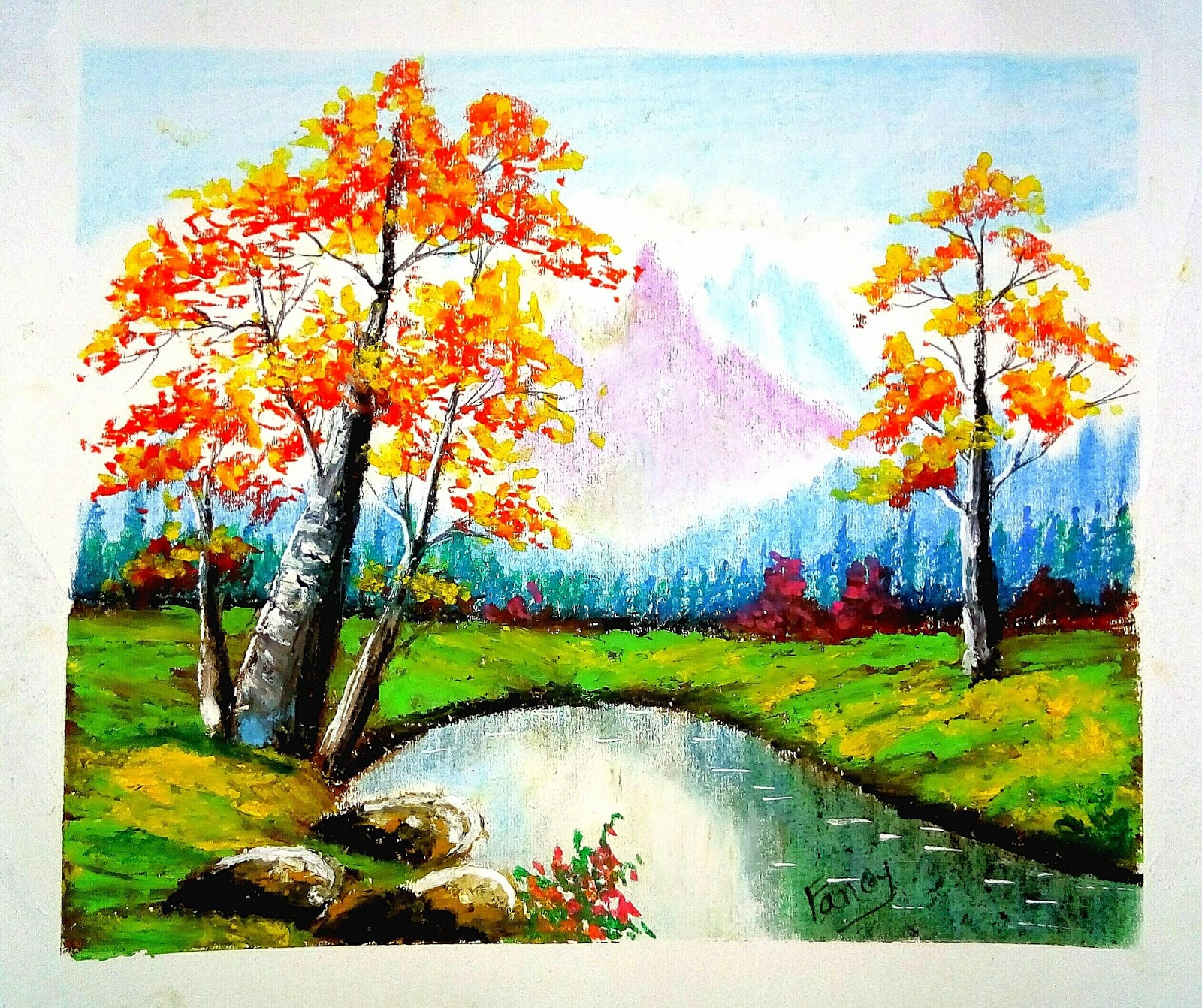 A beautiful landscape scenery drawing with oil pastel