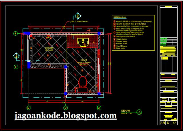 WC Lantai Bawah Gambar Kerja Autocad File dwg Untuk Rumah tinggal sederhana dan rumah mewa Desain Denah Kamar Mandi/WC Lantai Bawah Autocad File dwg