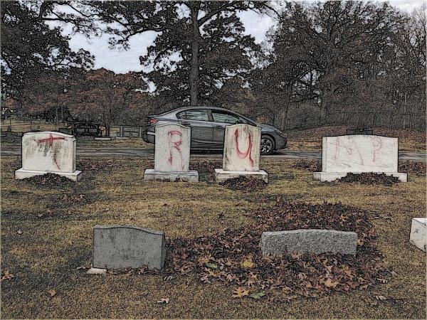 Headstones in a Jewish cemetery in Michigan