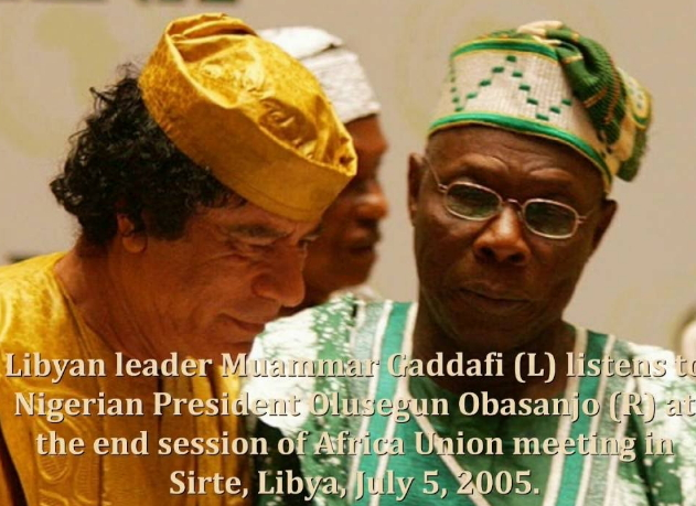 Obasanjo Kneels To Beg gaddafi