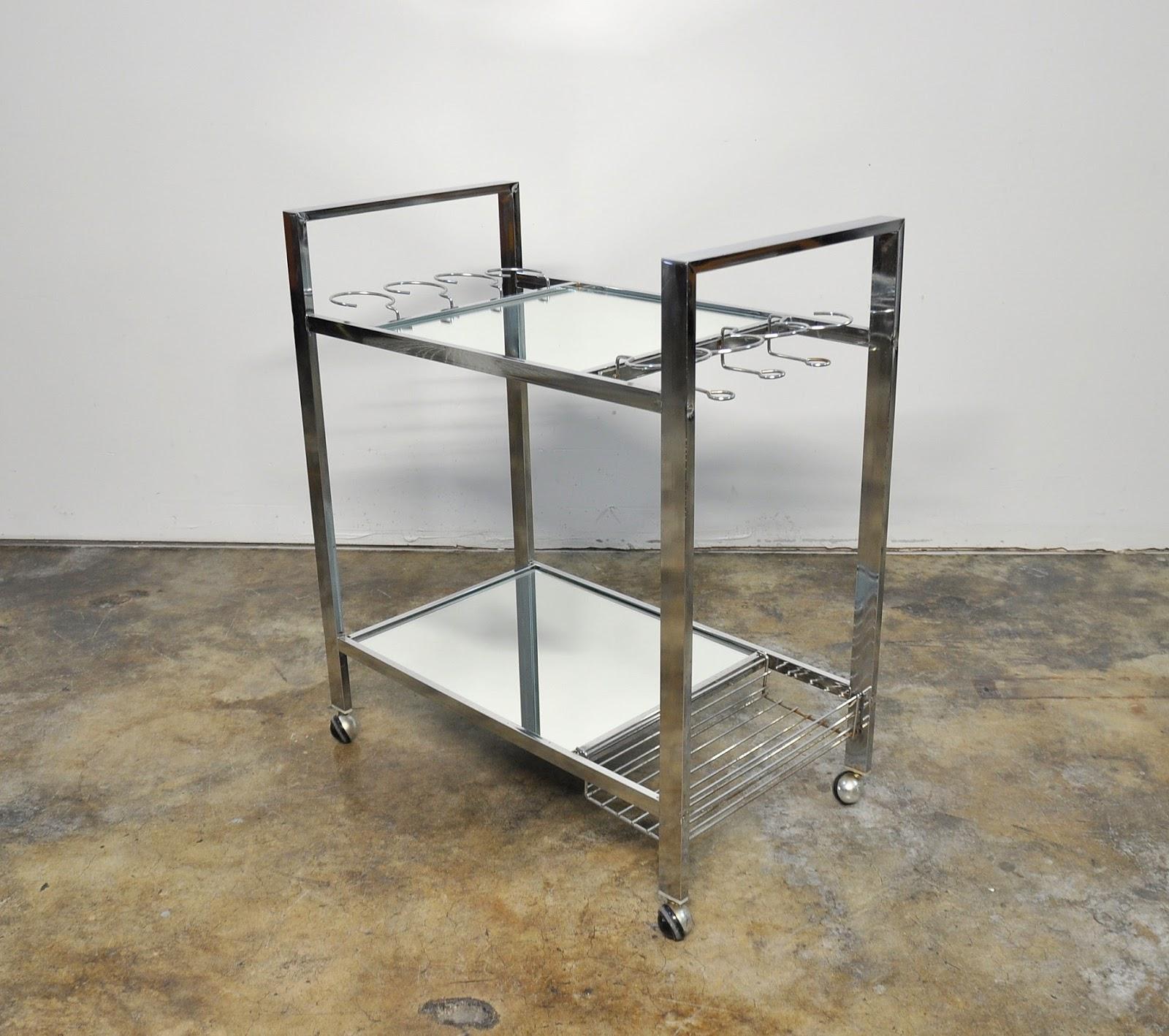 Select Modern Chrome Mirrored Rolling Bar Serving Cart