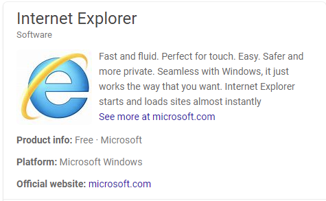 Picture of Internet Explorer version page