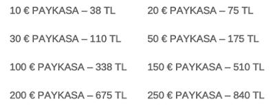 Paykasa kart fiyatları