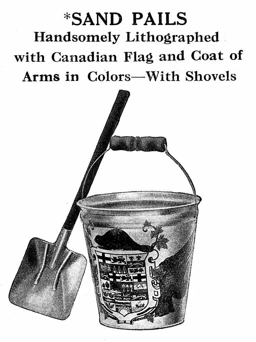 a 1915 toy sand-pail with Canada Coat of Arms