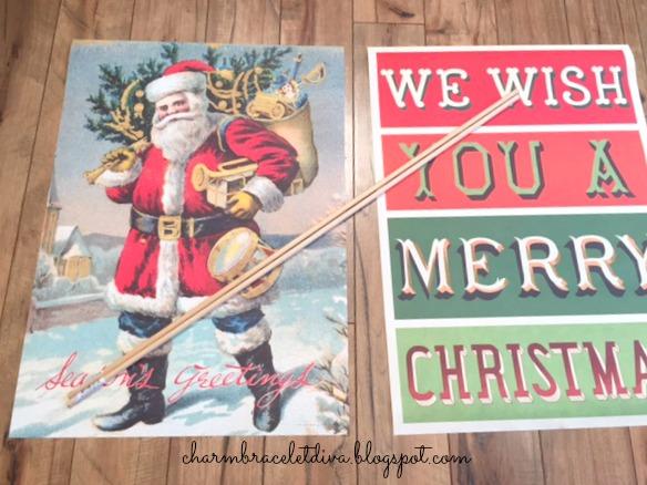 DIY vintage-inspired hanging poster wall art Santa we wish you a Merry Christmas