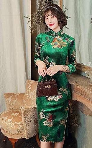 Green Short Cheongsam Qipao Dresses