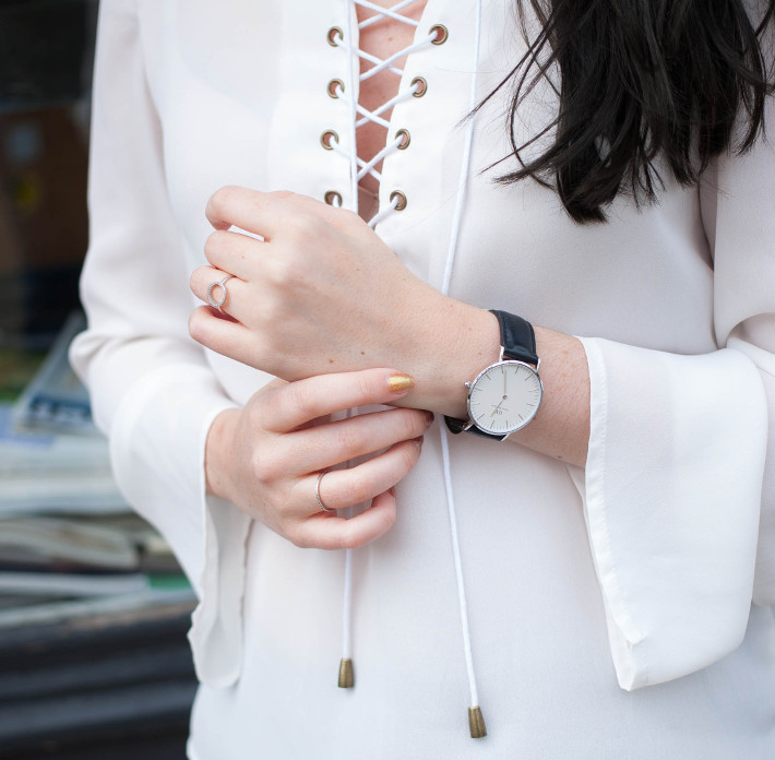 Outfit: lace up blouse, daniel wellington watch