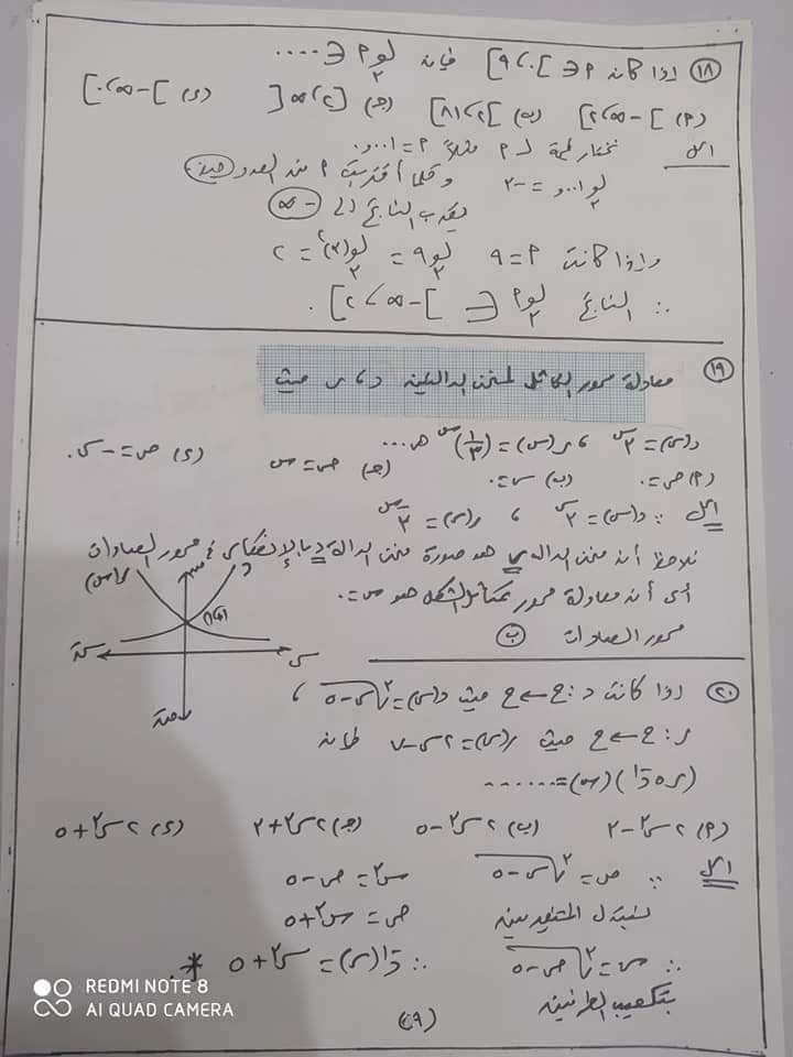 مراجعه جبر 2 ثانوي بالاجابات أ/ يحيي شعيشع 9