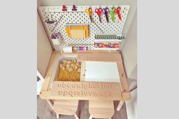 Ikea flisat table skadis pegboard desk with wooden letter tracing board