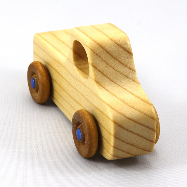 Handmade Wooden Toy Pickup Truck Play Pal Series Clear Shellac With Metallic Blue Hubs