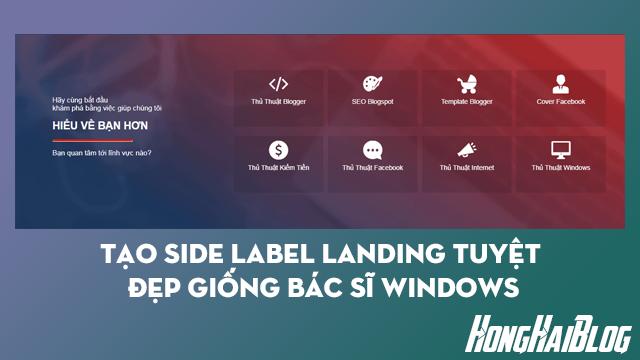 Tạo side Label Landing tuyệt đẹp giống Bác Sĩ Windows