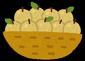 カゴに入った果物のイラスト(梨)