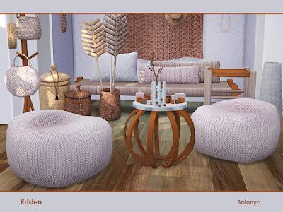 Kristen Кристен для The Sims 4 Набор мебели для любых ваших комнат. Включает в себя 13 объектов, имеет 2 цветовые палитры. Предметы в наборе: -sofa, -декоративная панель, -сундук со шляпами, -вешалка для сумок, - завод ручной работы , - два вида корзин, -бусы, -столик на столе, -столик для кофе , -вазы, -ветки в стакане, -пуф. Автор: soloriya