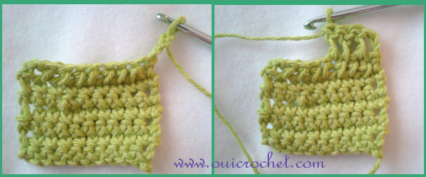 This simple crochet skills photo tutorial will teach you how many chain stitches you need for your crochet stitch height. It covers single crochet, half double crochet, double crochet, and triple- or treble- crochet. #OuiCrochet