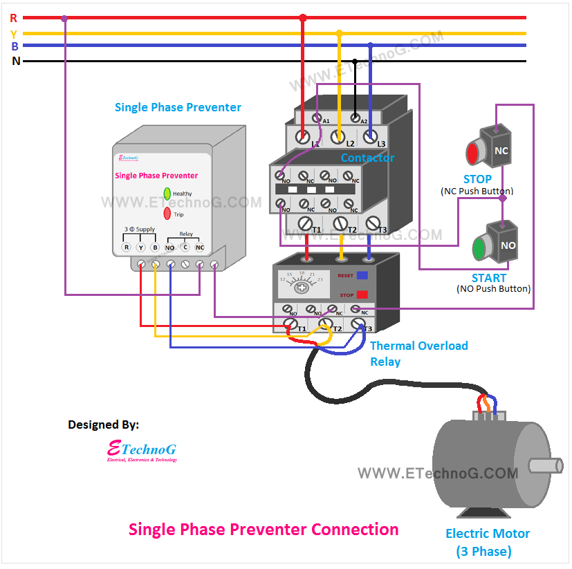 single phase preventer connection and wiring diagram