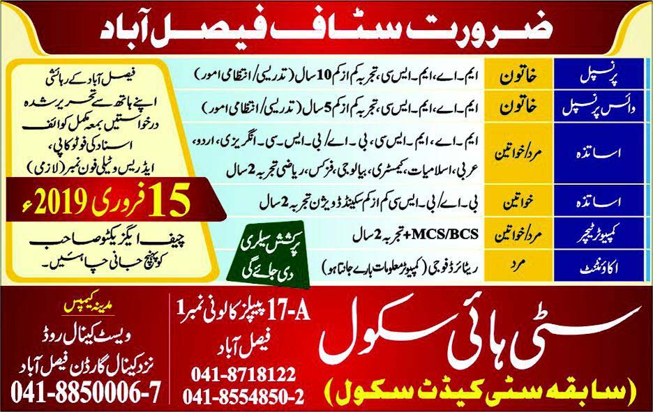 City High School Faisalabad  February Jobs 2019