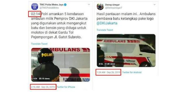 Twit Soal Ambulan DKI Bawa Batu Dihapus, Ada Apa?