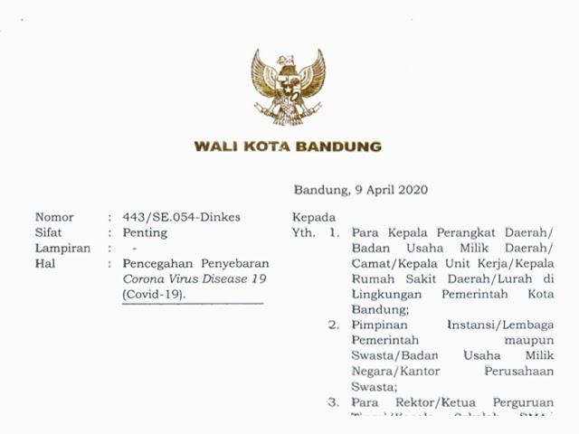 Isi Surat Edaran Wali Kota Bandung Tanggal 9 April 2020 Terkait Pencegahan Covid-19