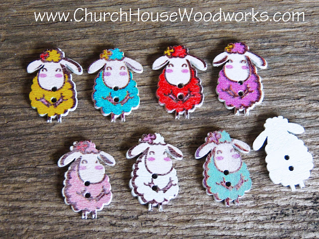 DIY Sewing Sheep Buttons by Church House Woodworks- Animal Buttons Wooden- Pink Yellow  Red Pink White BLue