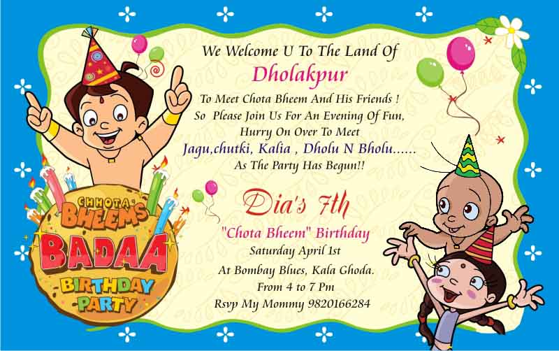 Fêting Your Kidu0027s Birthday with Chhota Bheem and Gangs of - free birthday cards templates