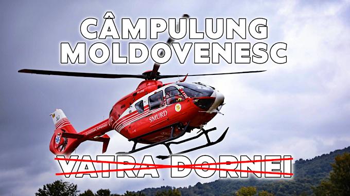ÎNCĂ O PALMĂ PENTRU DORNA: Elicopterul SMURD destinat intervențiilor montane care trebuia să ajungă la Vatra Dornei, va ajunge până la urmă la Câmpulung, a anunțat Gheorghe Flutur