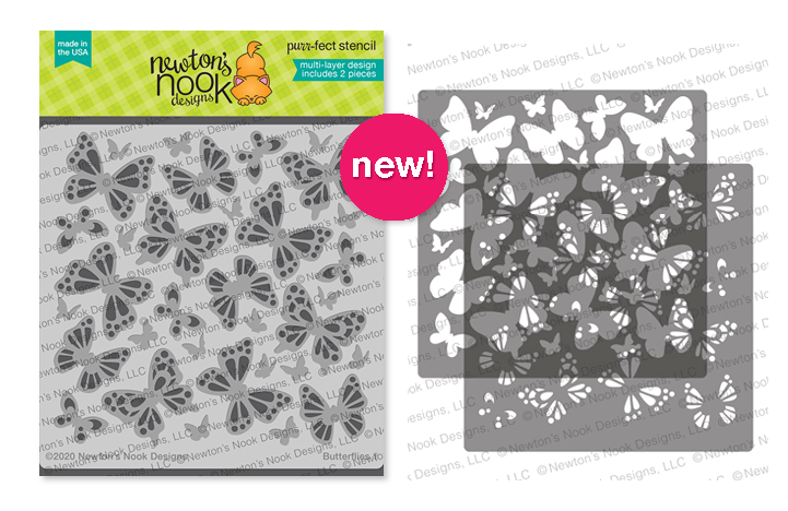 Butterflies Stencil Set | Two piece layering stencil set by Newton's Nook Designs #newtonsnook