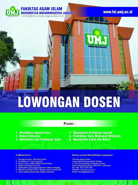 Lowongan Dosen Universitas Muhammadiyah Jakarta Agustus 2017