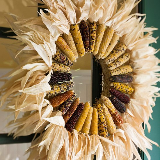 Autumn Wreath Front Door Tinker Indian Corn On The Cob Leaves Dry