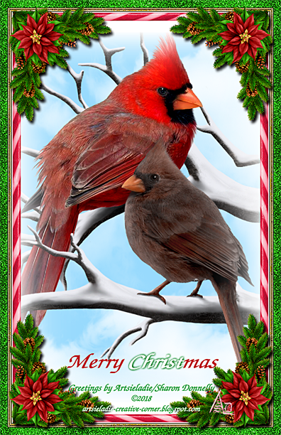 Christmas Cardinals art by/copyrighted to Artsieladie