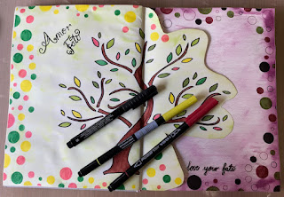 image tree outline in art journal with coloured brush markers