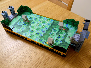 The cool 3D board for the Goosebumps Terror in the Graveyard board game, set up and ready to play.
