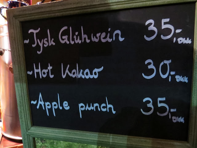 Menu highlighting the high cost of gluehwein at the Copenhagen Christmas Market