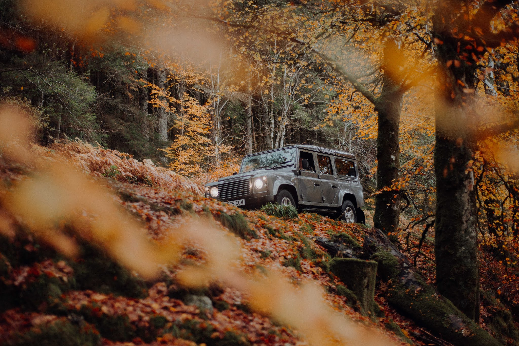 autumn drives landrover defender liquid grain